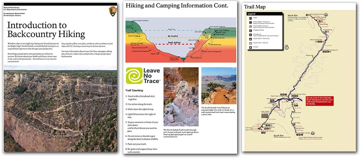 3 pages of the Introduction of the Backcountry Hiking Brochure: title page, trails profile, Corridor Trails Map