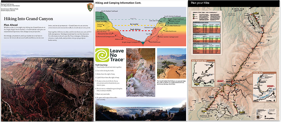 3 Pages Of The Introduction Of The Backcountry Hiking Brochure: Title Page, Trails Profile, Corridor Trails Map - 3 pages of the Introduction of the Backcountry Hiking Brochure: title page, trails profile, Corridor Trails Map