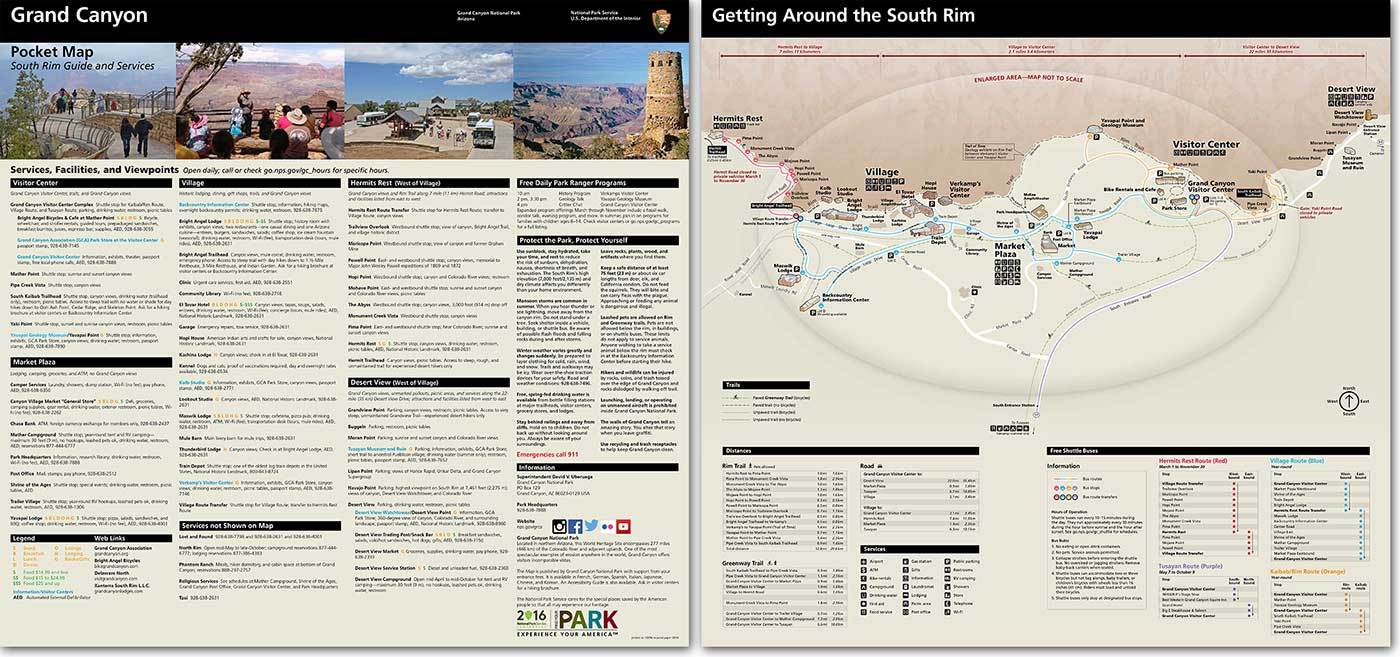 Front and back sides of South Rim Pocket Map and Services Guide