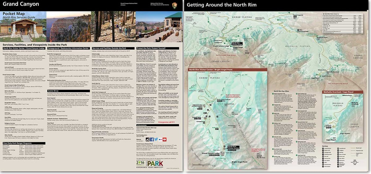 Graphic shows front (listing of services) and back (maps) of North Rim Pocket Map - the PDF version is accessible.