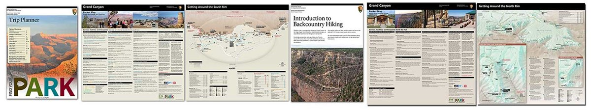Pages from four park trip planning publications are shown in a horizontal row across the width of the screen.