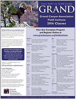 thumbnail of 2016 Class List for Grand Canyon Association Field Institute. Show photo of bighorn sheep on edge of canyon