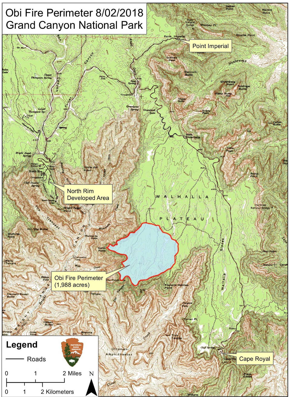 map from August 2, 2018 that show the location of the Obi Fire in relation to the North Rim Developed Area and the Walhalla Plateau.