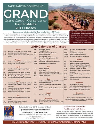 Field Institute Class Schedule poster shows hikers on a flat, unpaved trail with canyon peaks in the distance. The individual 2019 classes are listed by month. Click on this image to download a machine readable PDF file.
