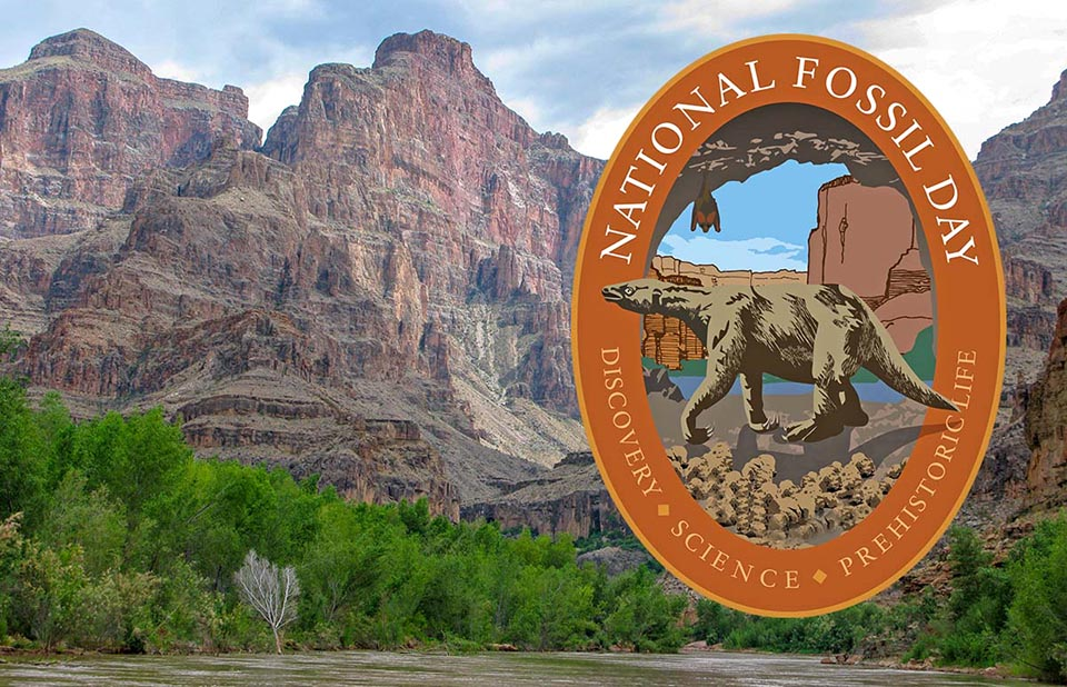 Description: National Fossil Day orange oval logo shows giant sloth superimposed against towering canyon cliffs from river level.