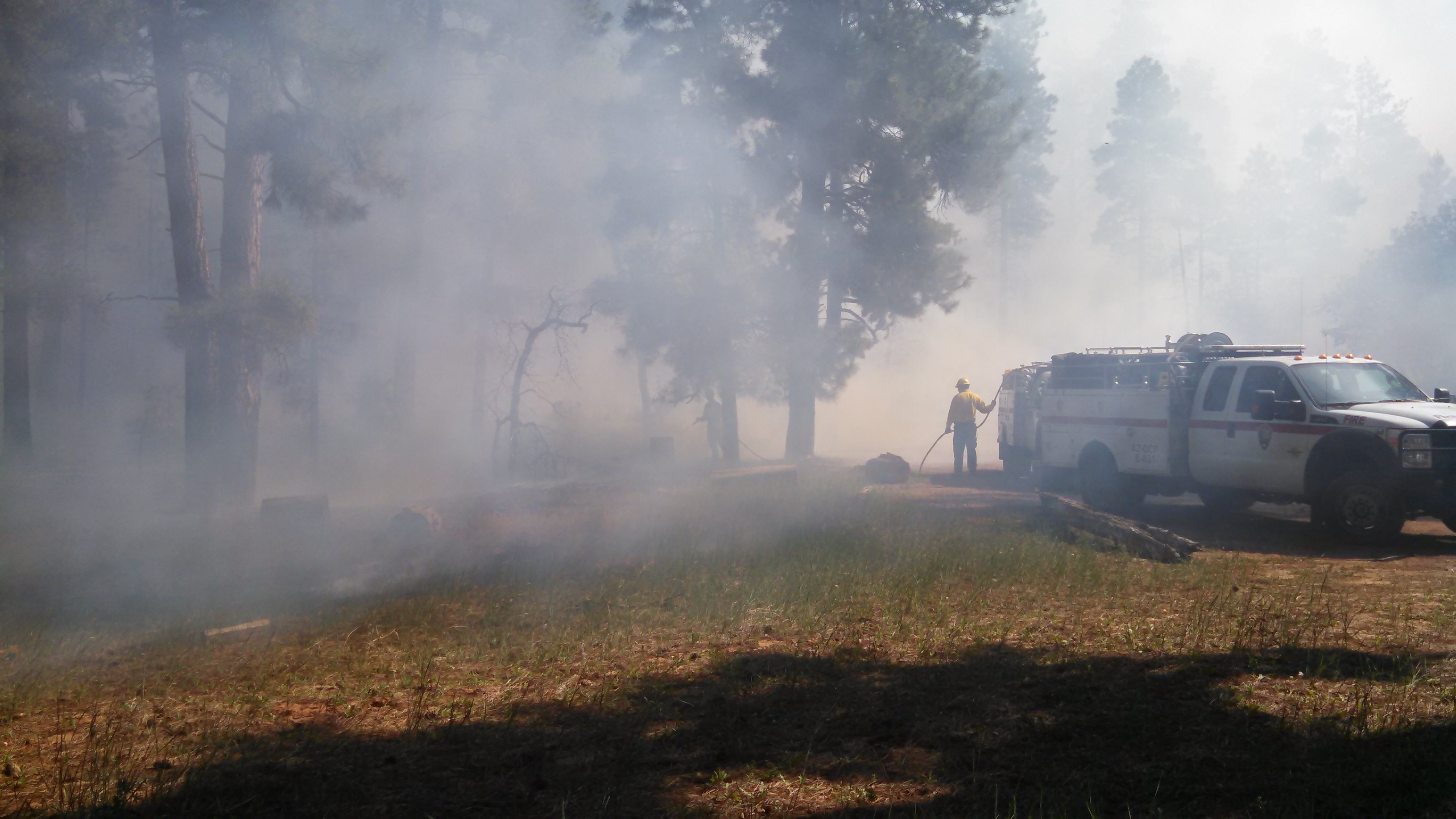 Wildland firefighters and engine near Shoshone Point