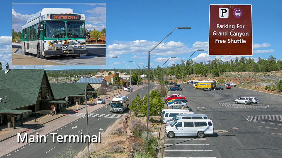 Photograph of park shuttle bus and Grand Canyon airport