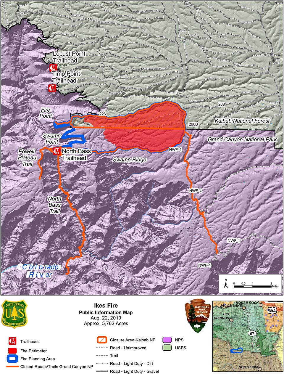 Map showing the Ikes Fire containment area and temporary road and trail closures in relation to the north side of Grand Canyon National Park in its boundary with Kaibab Nat. Forest.