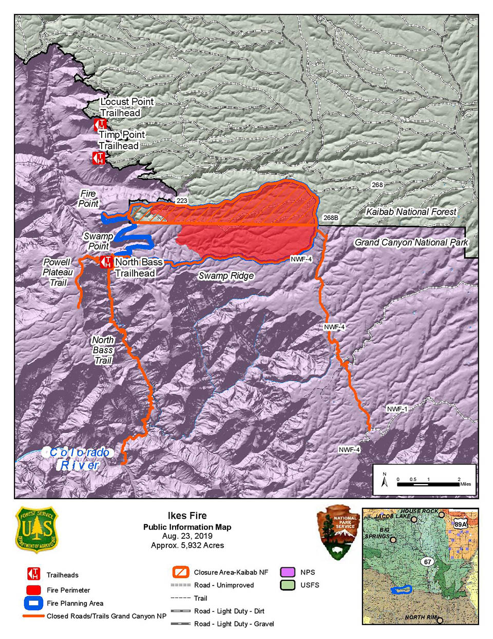 Map showing the Ikes Fire containment area in relation to the north side of Grand Canyon National Park in its boundary with Kaibab Nat. Forest