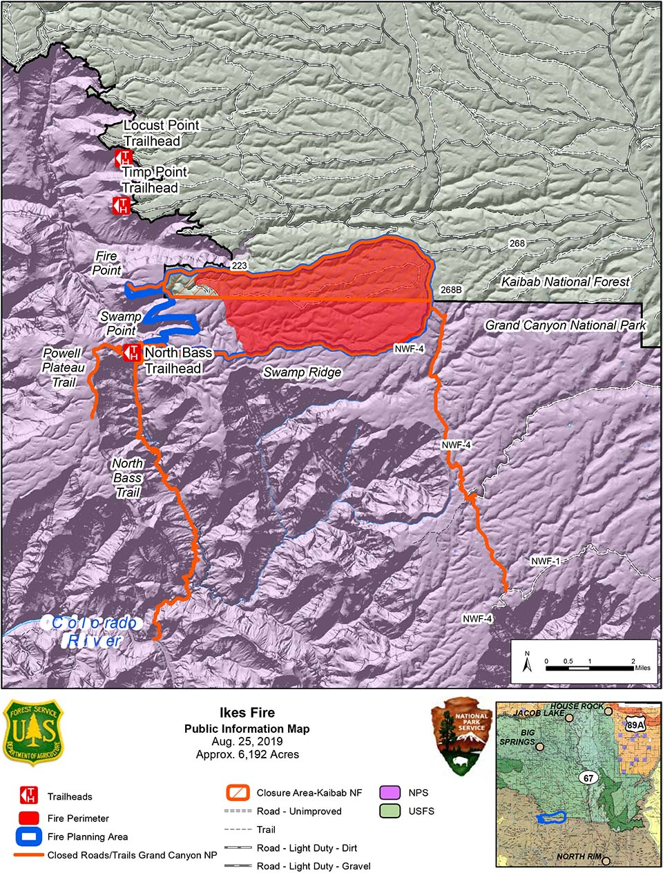 map showing the Ikes Fire containment area in relation to the north side of Grand Canyon National Park in its boundary with Kaibab Nat. Forest 08-25-2019