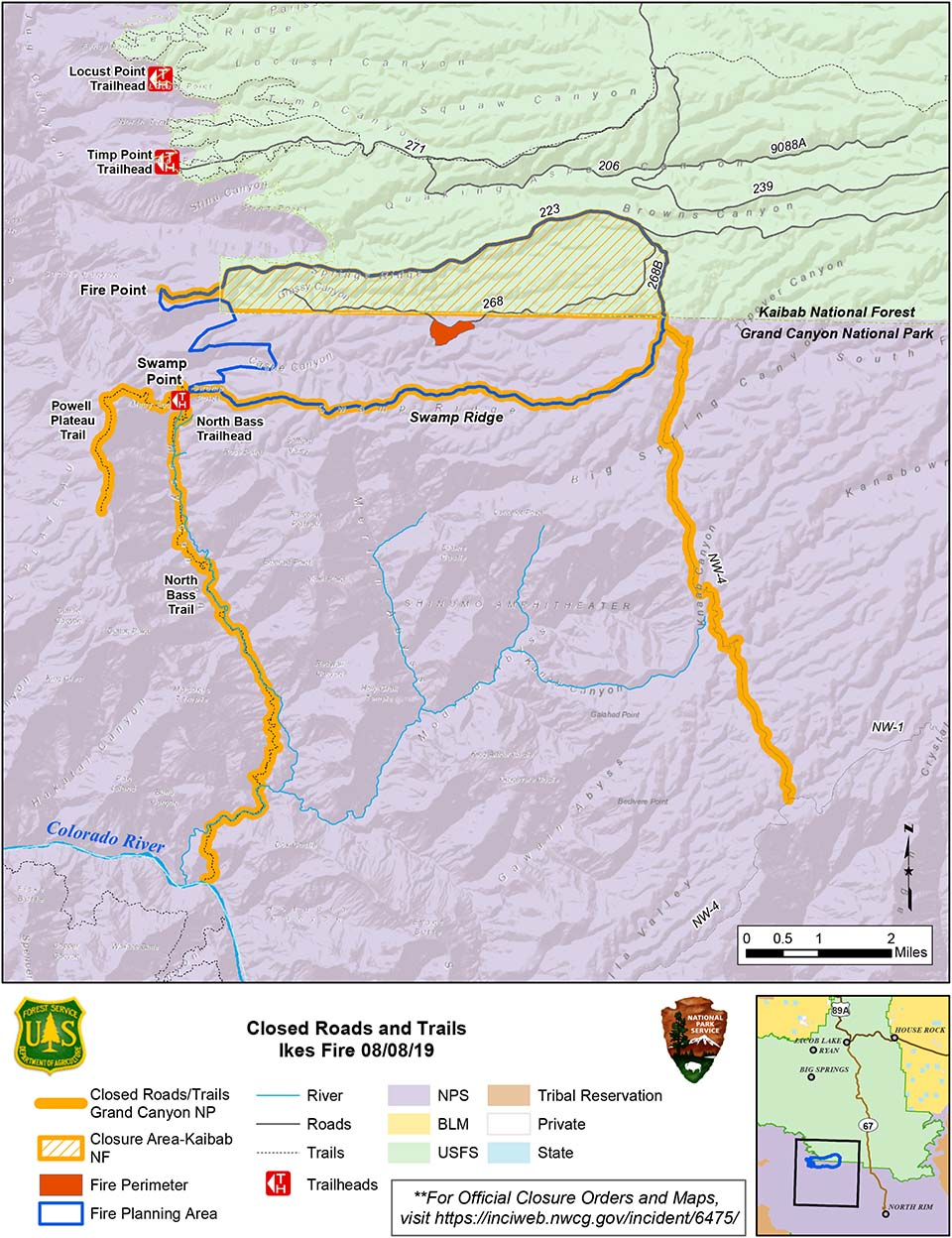 map showing the Ikes Fire containment and closure area in relation to the north side of Grand Canyon National Park in its boundary with Kaibab Nat. Forest