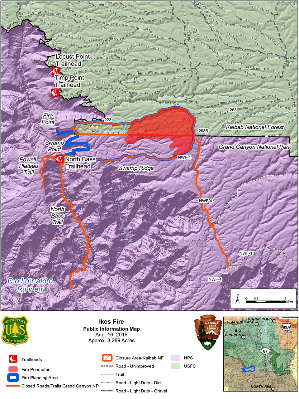 map showing the Ikes Fire containment area and they portions that have been burned, within Grand Canyon National Park and Kaibab Nat. Forest