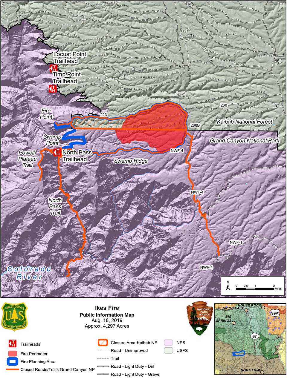 Map showing the Ikes Fire road and trail closures and containment area in relation to the north side of Grand Canyon National Park in its boundary with Kaibab Nat. Forest