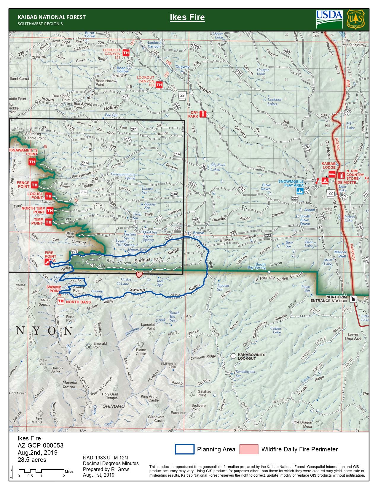 A map shows the Ikes fire perimeter in red
