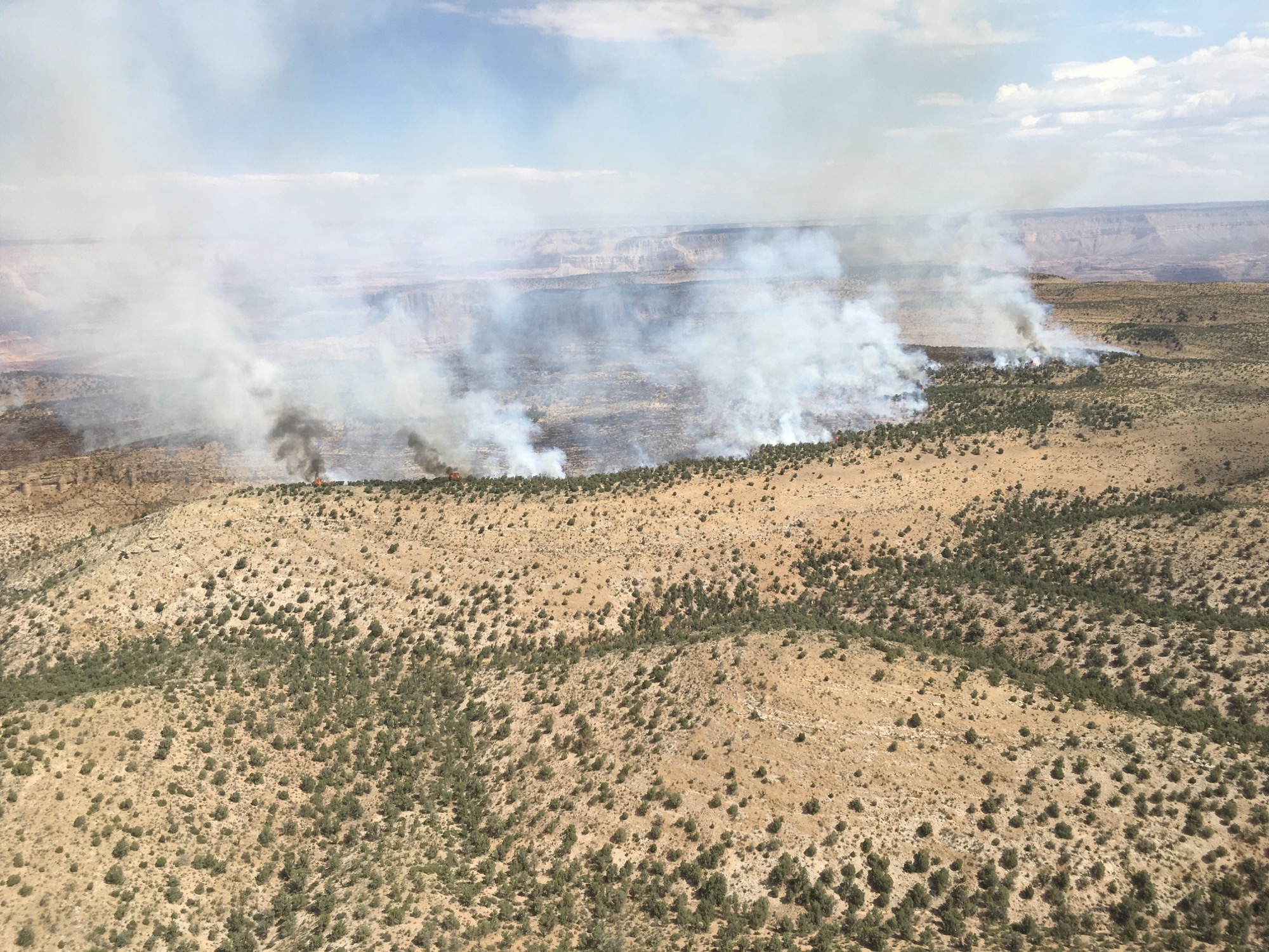Aerial view of fire along rim of canyon.