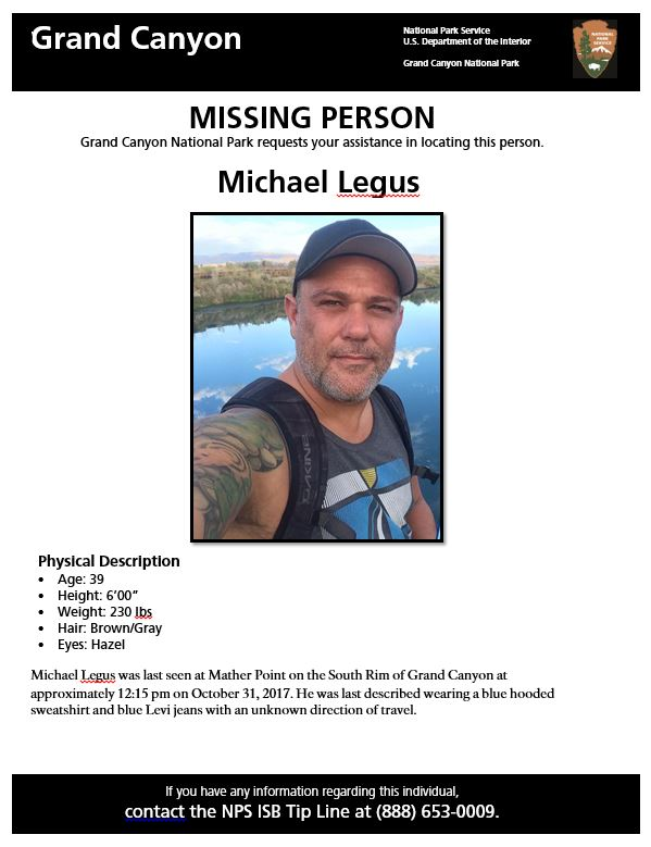 Missing Person Search Underway at South Rim of Grand Canyon – Missing Person Flyer