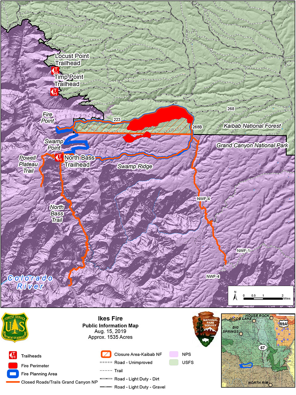 Map of the Ikes Fire planning area, with the areas that have burned shown in red. Closed roads and trails are show with orange lines.