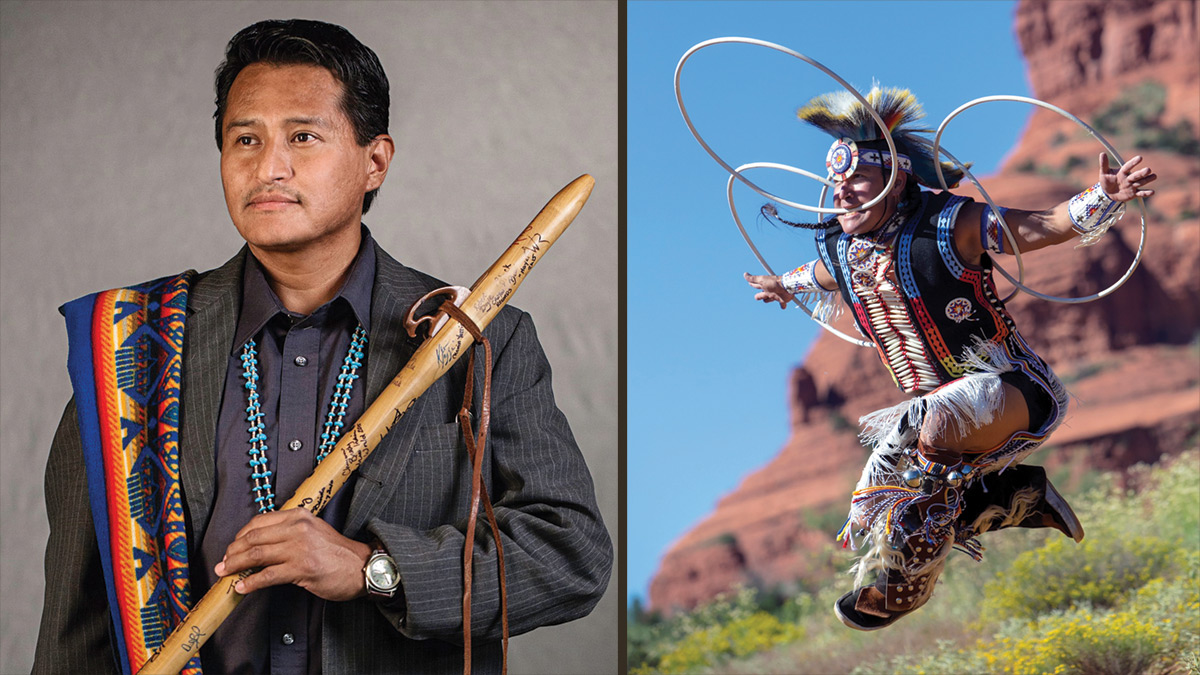 Two photos of American Indian performers. On the left, Jonah Littlesunday holding his wooden flute. On the right, Derrick Suwaima Davis, hoop dancing in mid-air with three hoops with a sandstone butte in the background.