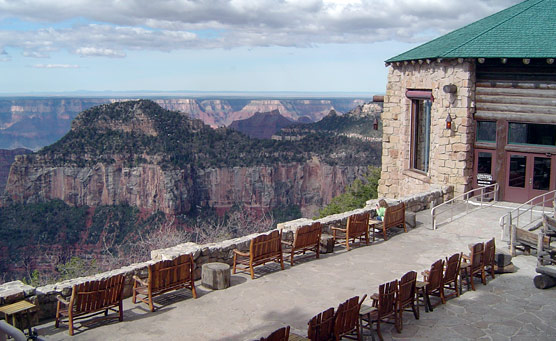 View from the veranda of the Grand Canyon Lodge on the North Rim.