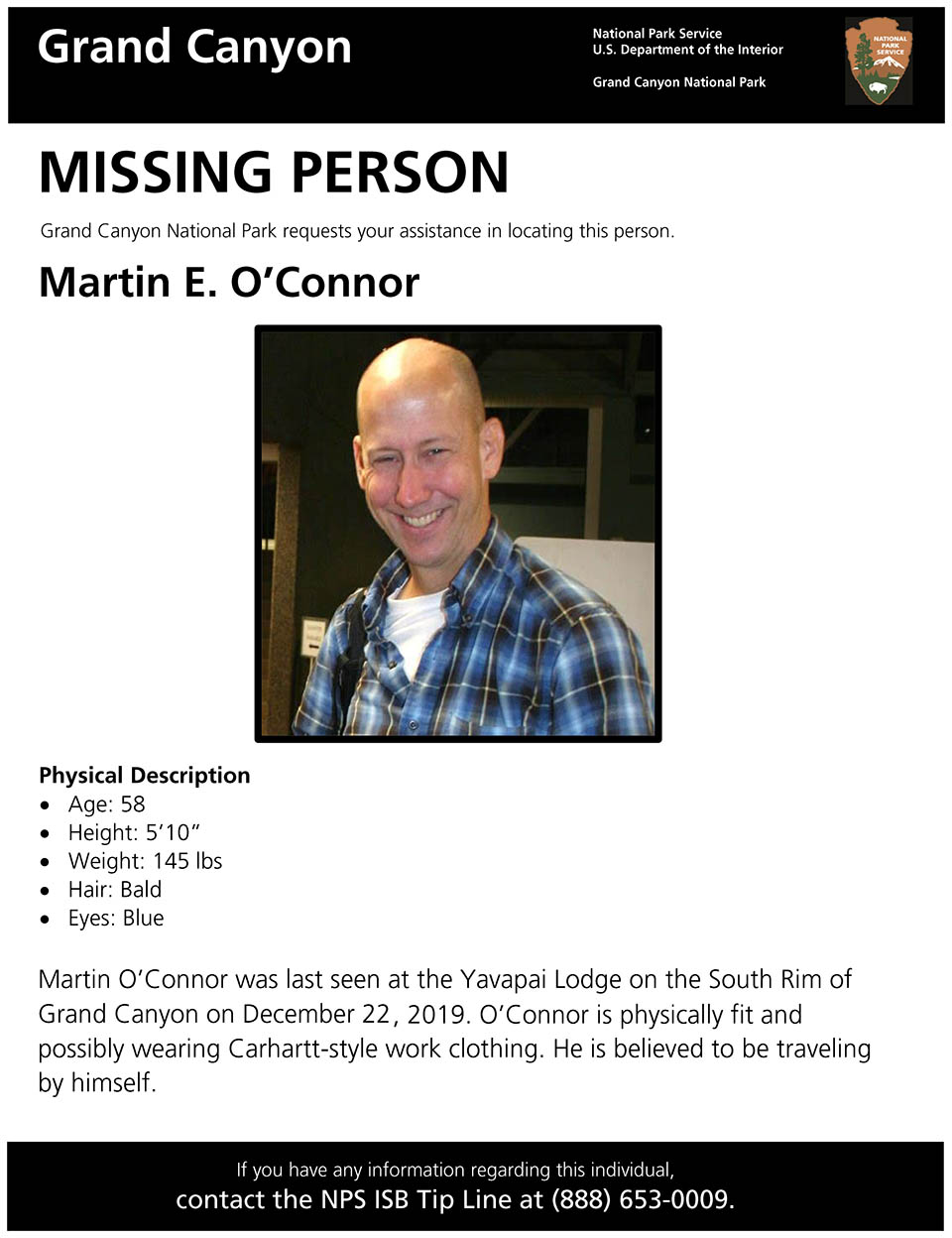 Missing person for Martin E. O'Connor has photo of a smiling, middle aged man with a bald head. blue eyes, and wearing a blue flannel shirt.