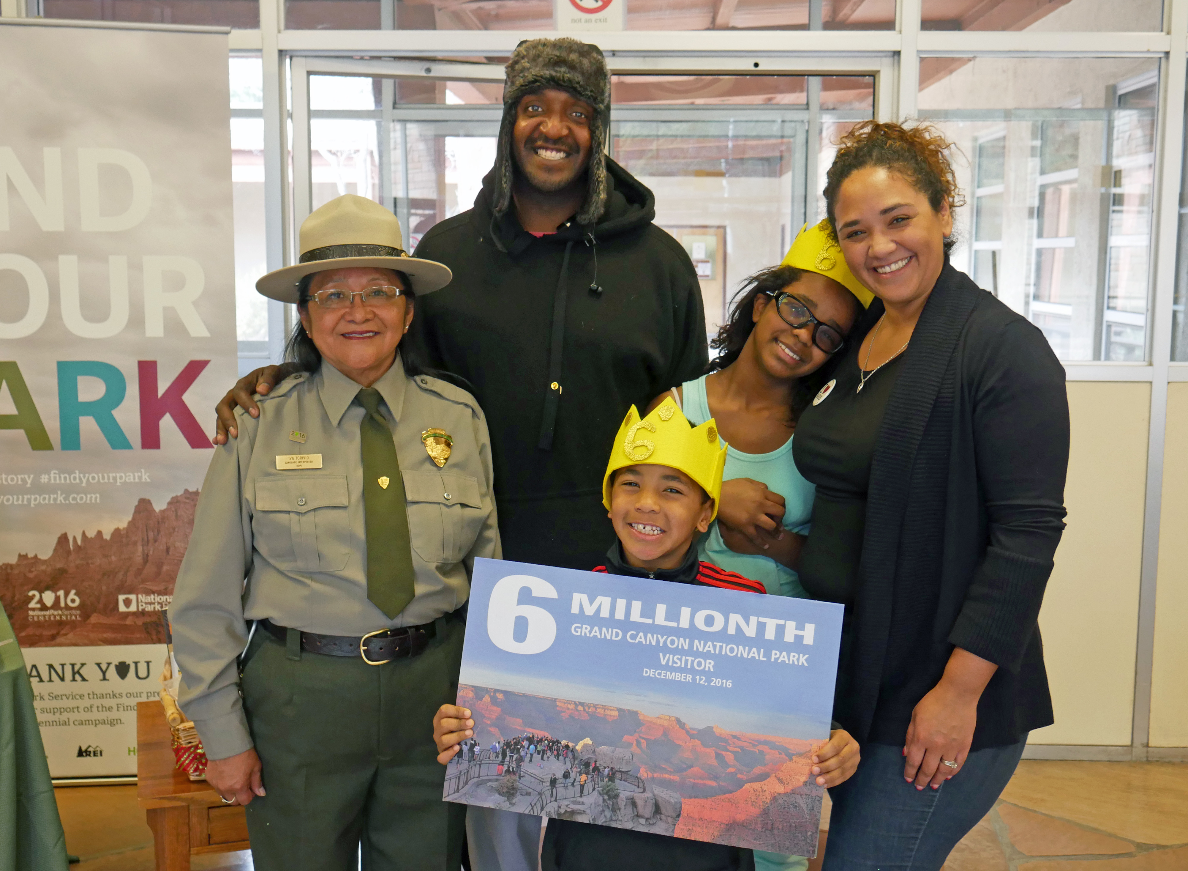 Park ranger Iva Torivio welcomes the Johnson family