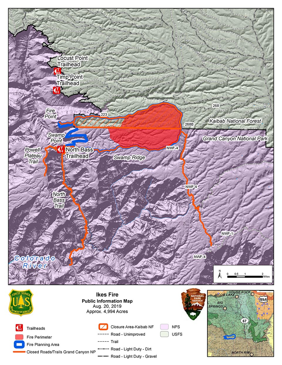 Ikes PIO Map 082019 showing the Ikes Fire road and trail closures and containment area in relation to the north side of Grand Canyon National Park in its boundary with Kaibab Nat. Forest