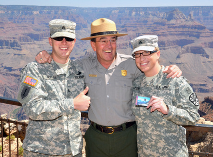 Superintendent with Sergeants Morse and Lozier after issuing their American the Beautiful Passes for Military.