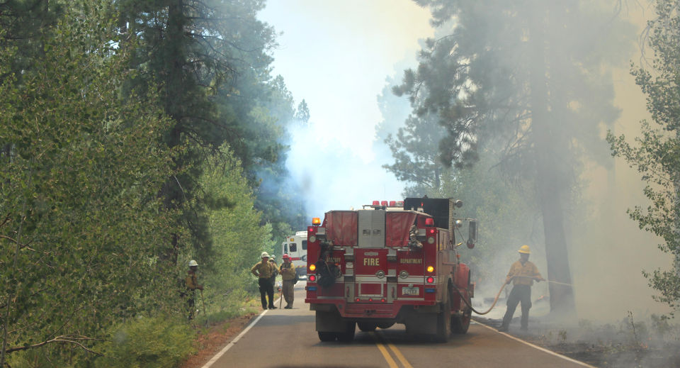 A red fire truck on a two-lane roadway. A firefighter wearing a yellow helmet and jacket is hosing down a burning snag by the side of the road. Smoke fills the air.