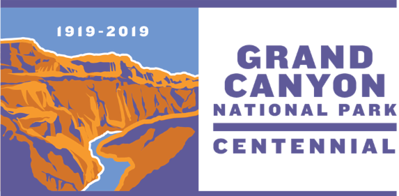 Centennial Logo shows orange and brown cliffs with blue accents a blue river. Text: 1919-2019