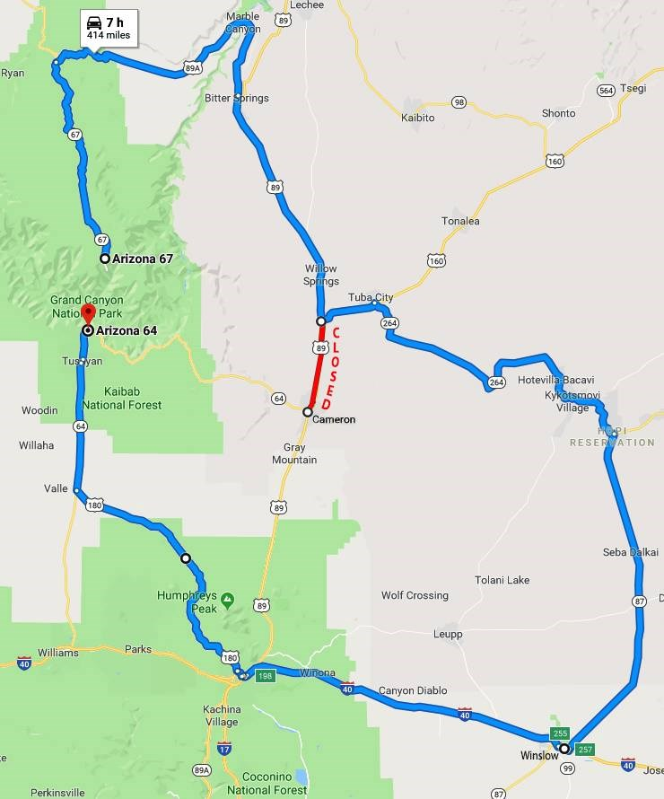 A road map showing in red, the closed section of Highway 89. The blue line shows the suggested detour from South Rim to North Rim of Grand Canyon National Park.