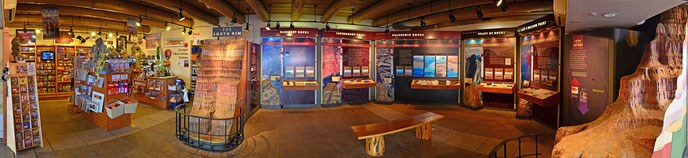 Yavapai Museum of Geology bookstore (far left) and exhibits.