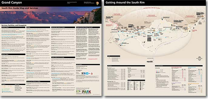 Photo showing front and back sides of South Rim Guide Map and Services pocket map. The front side lists park facilities and hours of operation. The back side displays a large map of Grand Canyon Village and vicinity.