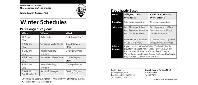 Graphic showing the Ranger Program and Shuttle Bus Schedules printed on the card.information printed