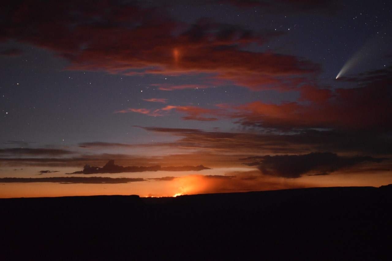 Sunset with fire burning in the background and comet Neowise in upper righthand corner.