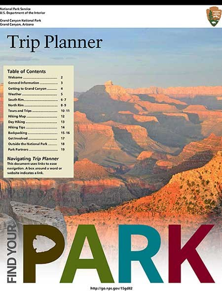 Image of front cover of Grand Canyon Trip Planner: shows golden sunset scene looking into canyon.