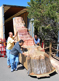 Delivery of a new geological column to Yavapai Observation Station.