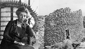 Portrait of architect Mary Colter, left, tower ruin in Hovenweep N.M. right