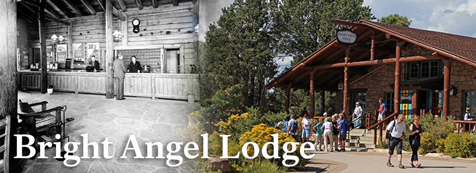 A historic image of Bright Angel Lodge on the left and a modern image of Bright Angel Lodge on the right.