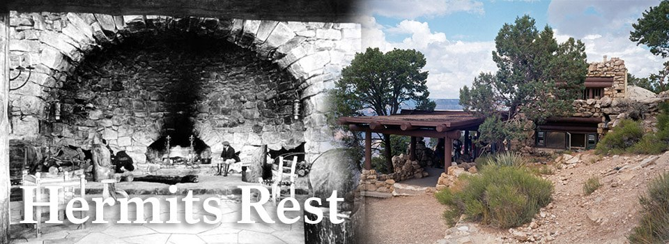 A historic image of Hermits Rest on the left and a modern image of Hermits Rest on the right.