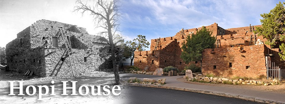 A historic image of Hopi House on the left and a modern image of Hopi House on the right.
