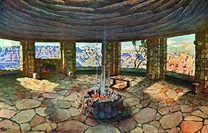 Widforss-Postcard-H4484 Painting of Watchtower Kiva Room