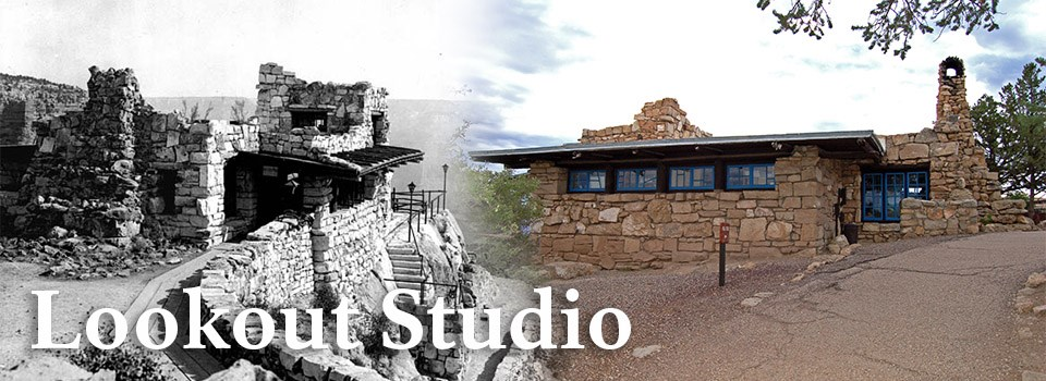 A historic image of Lookout Studio on the left and a modern image of Lookout Studio on the right.