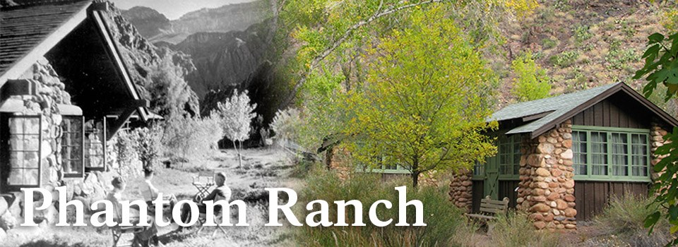 A historic image of Phantom Ranch on the left and a modern image of Phantom Ranch on the right.