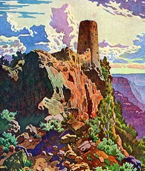 Widforss-Postcard-H4480 shows watchtower emerging from the canyon rocks