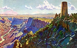 Widforss-Postcard-H4481 shows painted view from west of Colorodo River and Watchtower