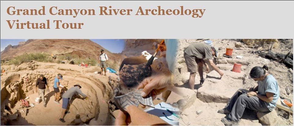 River archaeology virtual tour graphic shows a collage of archaeologists working in a kiva and analyzing pottery sherds and masonry.