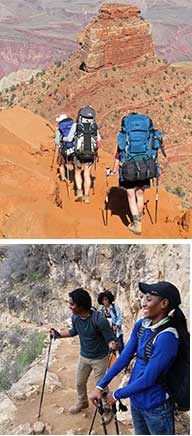 Two photos of hiker groups on the trail in Grand Canyon.