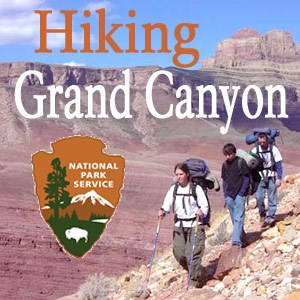 "Logo for Hiking Grand Canyon Podcast. Background shows 3 hikers on a steep trail with Grand Canyon beyond. Words, ""Hiking Grand Canyon,"" and NPS arrowhead is superimposed."