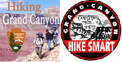 Two logos side-by-side. Hiking Grand Canyon Podcast channel on the left and Grand Canyon Hike Smart on the right.