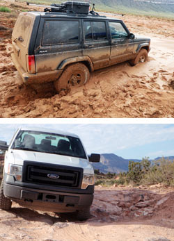 top photo: SUV stuck in mud, bottom photo: truck on rough road